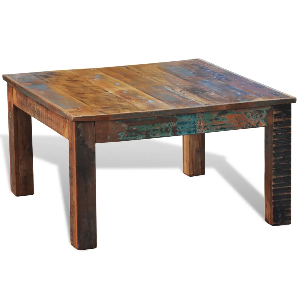 Coffee Wood Table Reclaimed Wood Coffee Table Square Antique Style Vidaxl