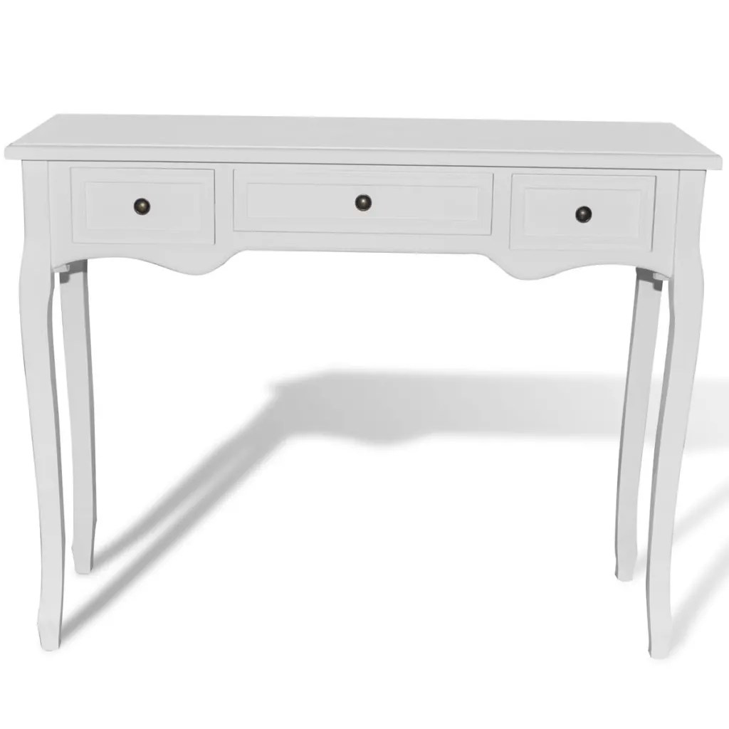 Console With Drawers White Dressing Console Table With Three Drawers Vidaxl
