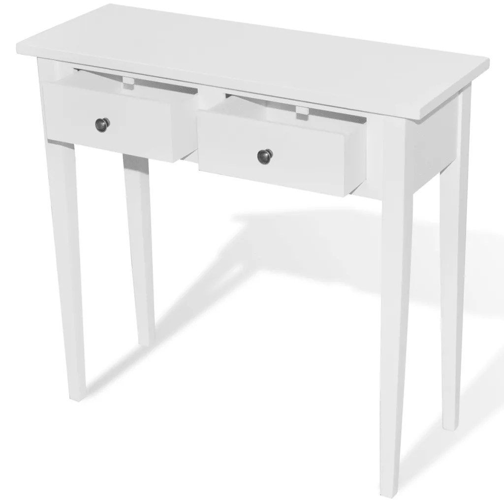 Console With Drawers White Dressing Console Table With Two Drawers Vidaxl