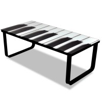 vidaXL.co.uk | Glass Coffee Table with Piano Printing