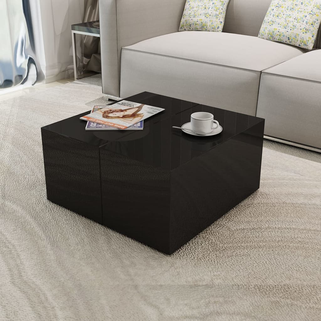 Table Salon Noire Table Basse Blanche Noire Brillante Table Basse De Salon