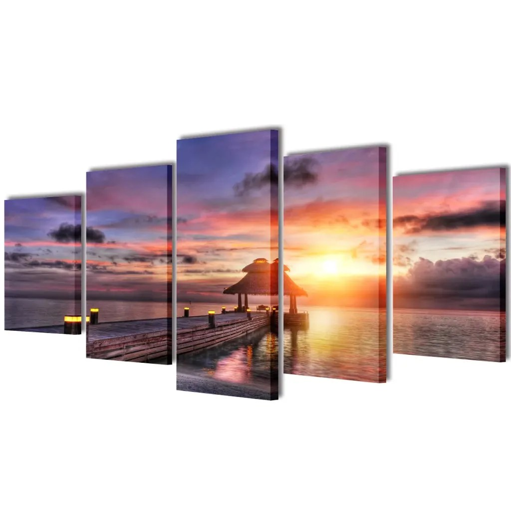 Canvas Wall Prints Vidaxl Co Uk Canvas Wall Print Set Beach With Pavilion