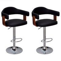 2 pcs Bentwood Bar Stool with Backrest Armrest Height ...