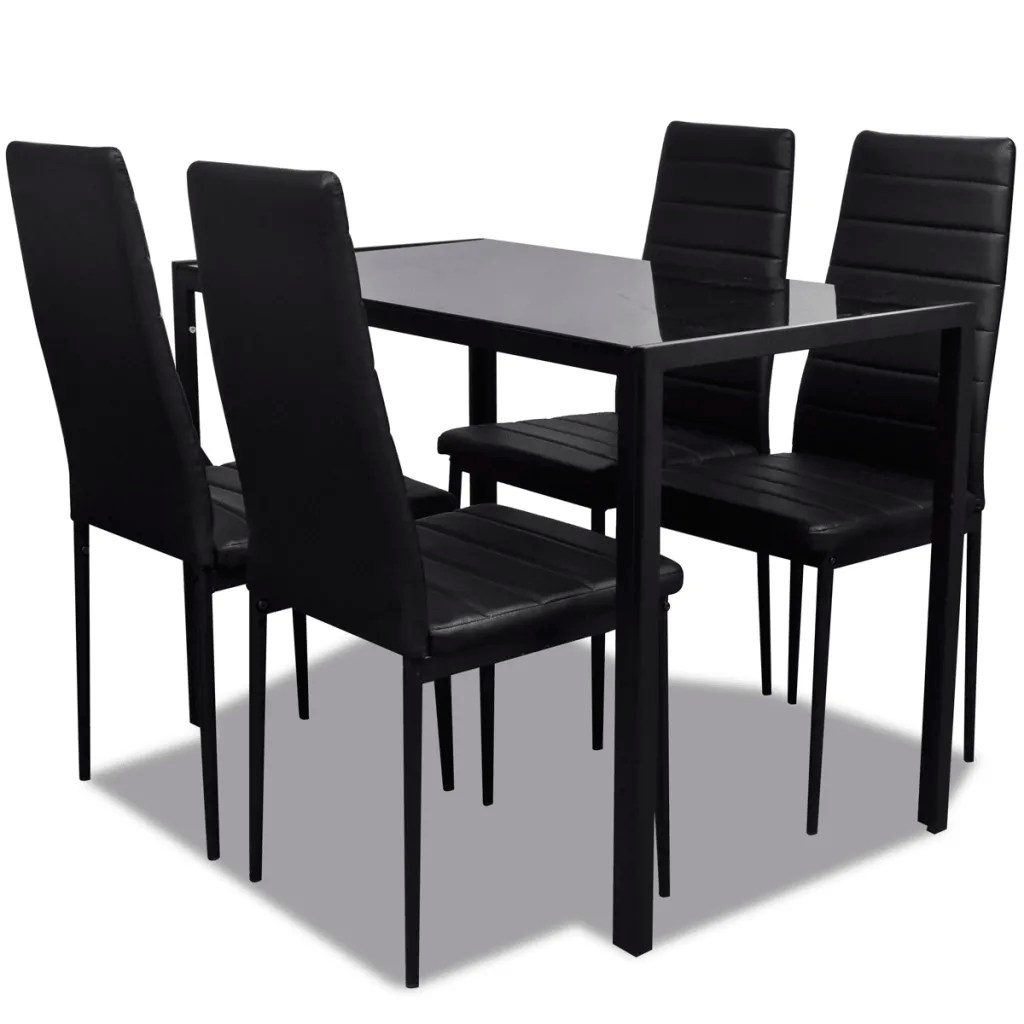 Black Dining Table And Chairs Contemporary Dining Set Table And 4 Upholstered Chairs