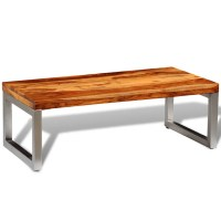 vidaXL.co.uk | Solid Sheesham Wood Coffee Table with Steel Leg