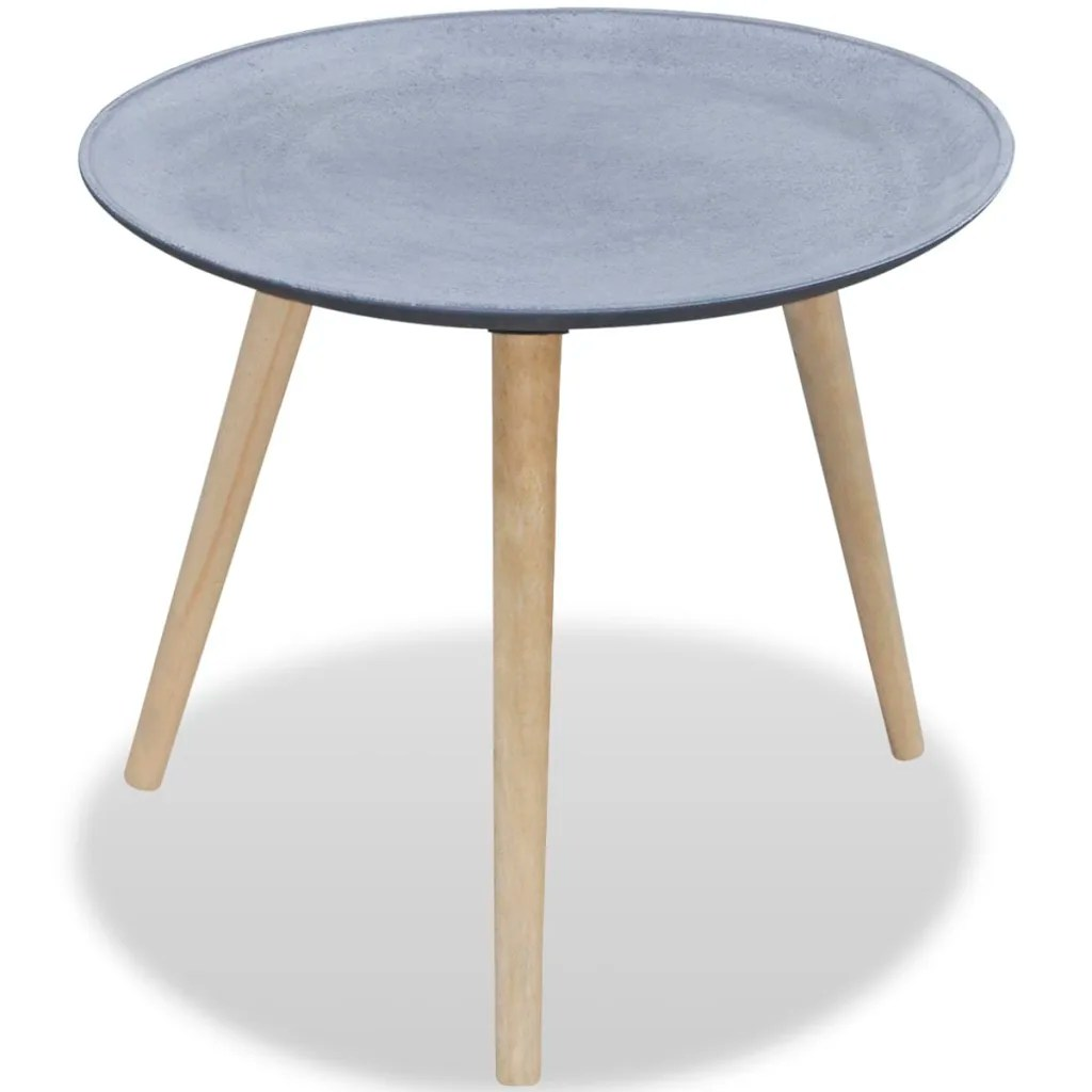 Round Coffee Table And End Tables Round Side Table Coffee Table Gray Concrete Look Vidaxl