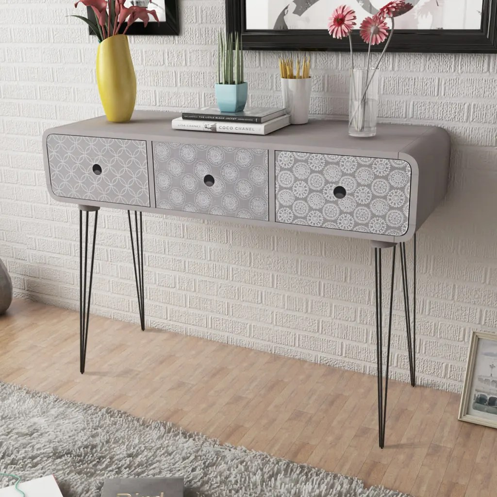 Narrow Console Table Australia Side Cabinet Console Table With 3 Drawers Grey Www