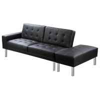 Black Adjustable Sofa Bed Artificial Leather | vidaXL.com