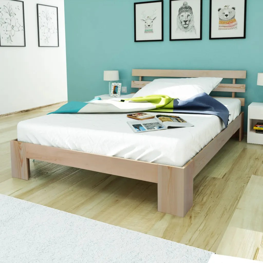 Bett 200x140 Vidaxl.co.uk | Natural Solid Pinewood Bed 200 X 140 Cm