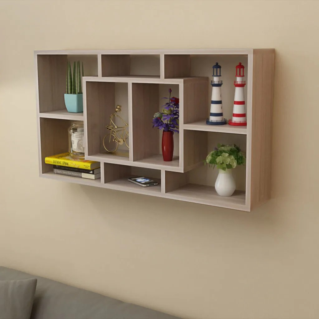 Vidaxlcouk Floating Wall Display Shelf 8 Compartments