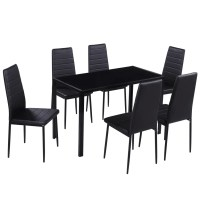 Dining Set 6 Black Chairs + 1 Table Contemporary Design ...