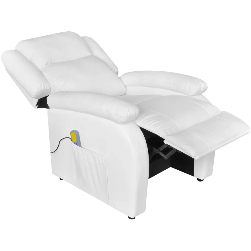Electric Recliner Leather Chairs Electric Massage Recliner Chair Artificial Leather White