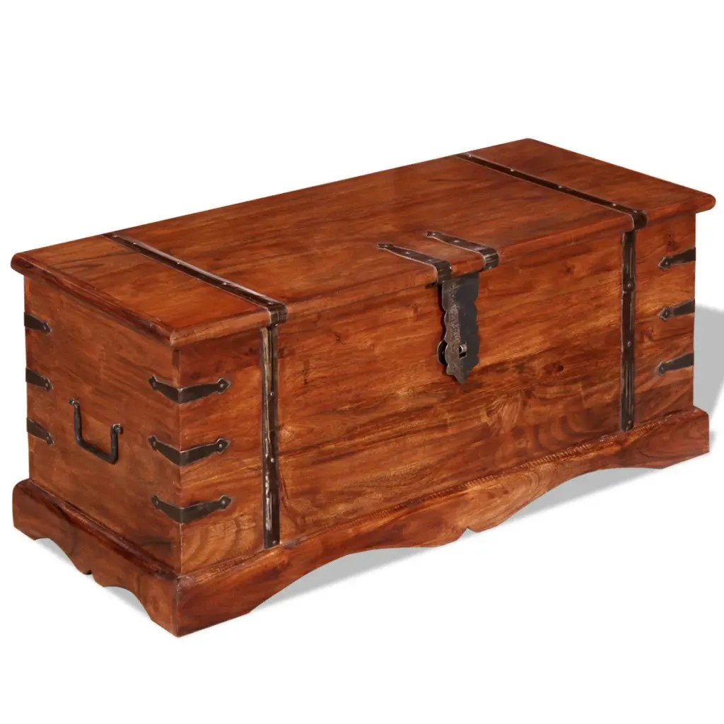 Wood Coffee Table With Storage Brown Solid Wood Storage Chest Trunk Box Antique Style