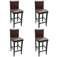 4 Modern Brown Bar Stools Artificial Leather | vidaXL.com