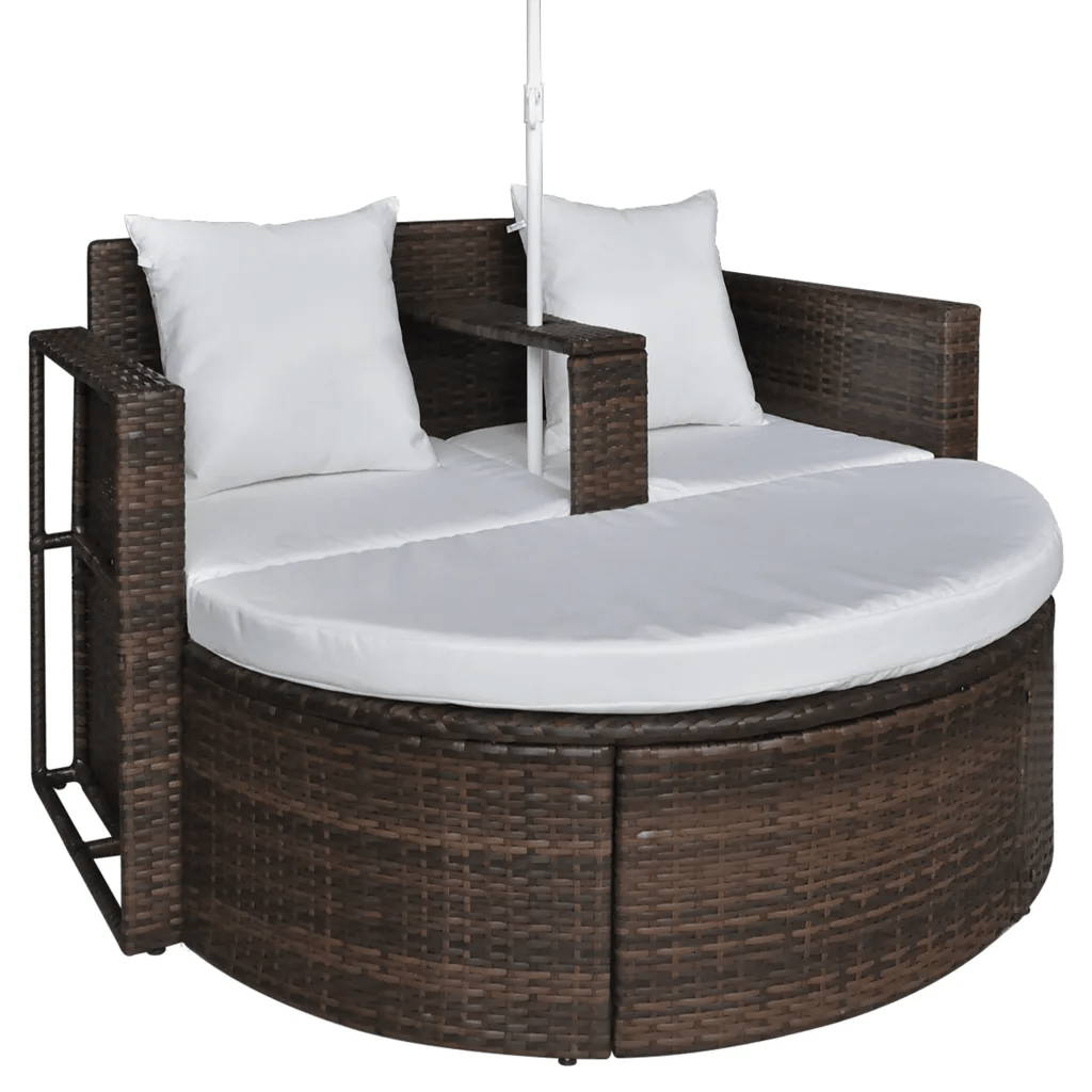 Lounge Set Rattan Brown Garden Poly Rattan Lounge Set With Parasol Outdoor