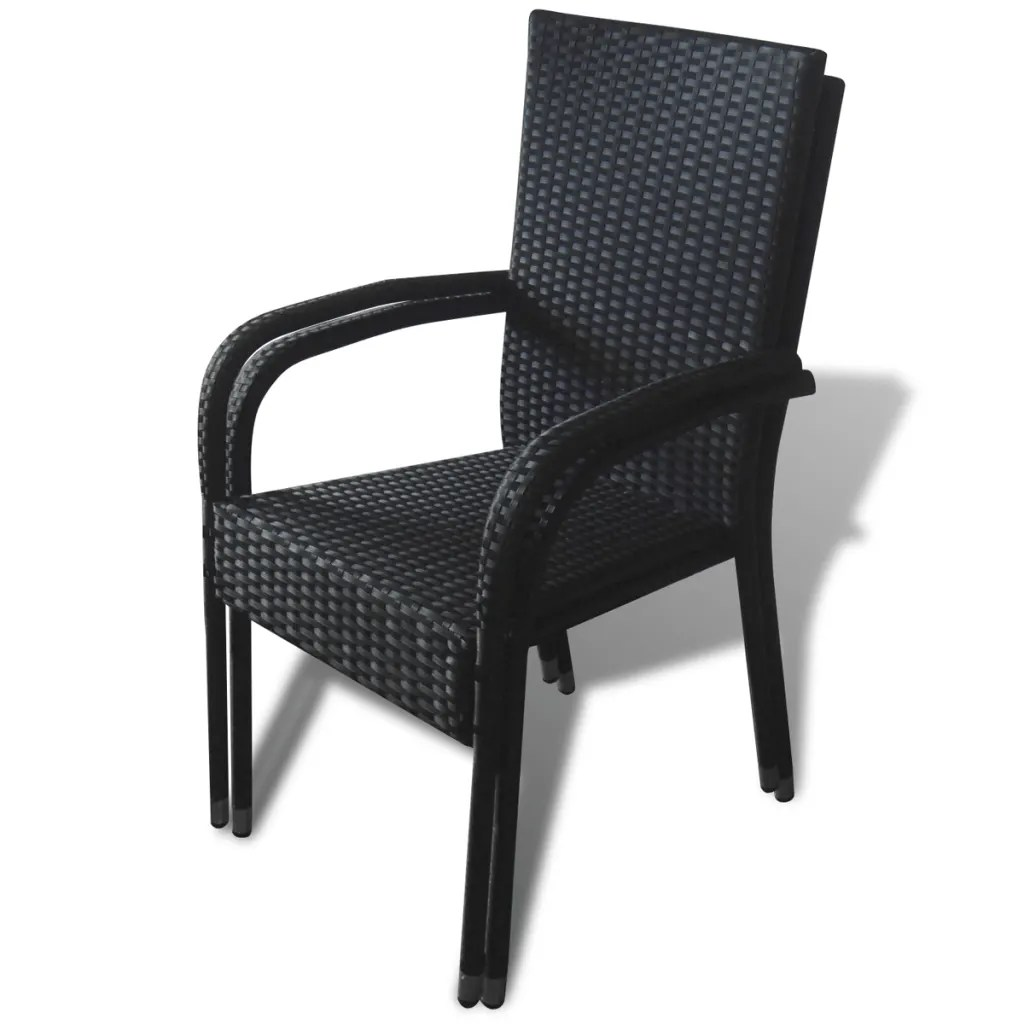 Furniture Chairs Black Black Poly Rattan Garden Furniture 2 Pcs Dining Chair Set