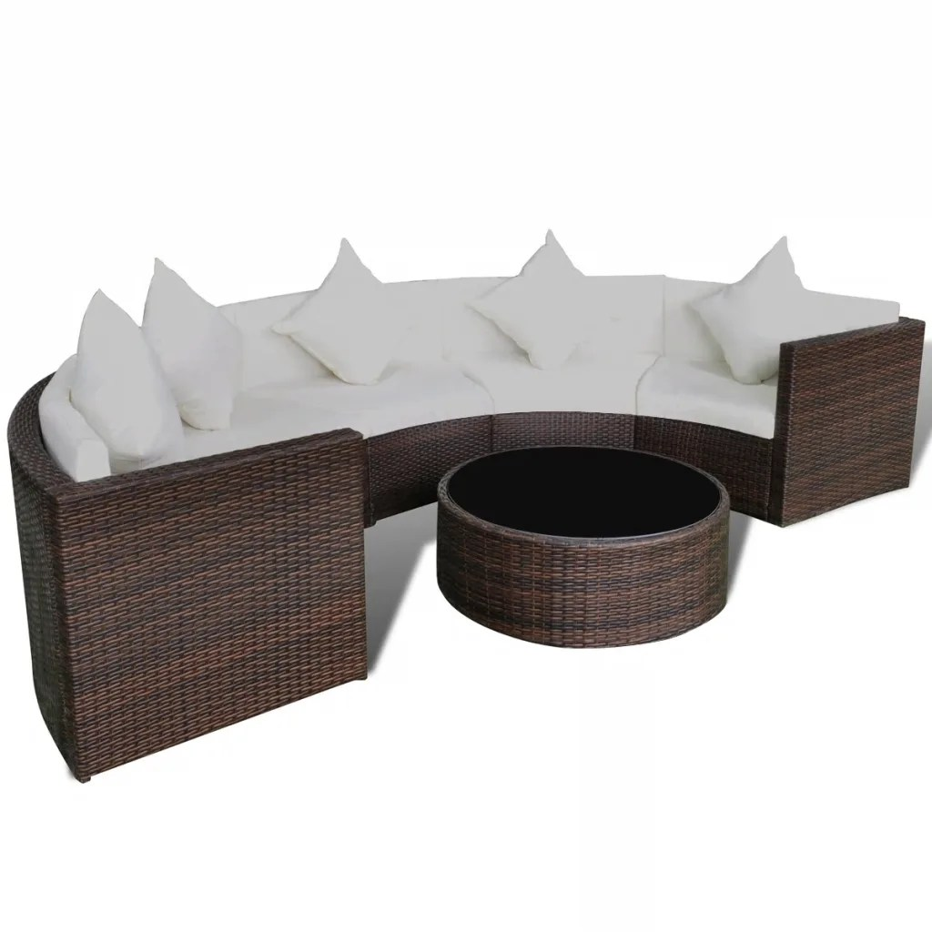 Salon De Jardin Lit Sofa Rond Vidaxl Brown Garden Half Round Poly Rattan Sofa Set With