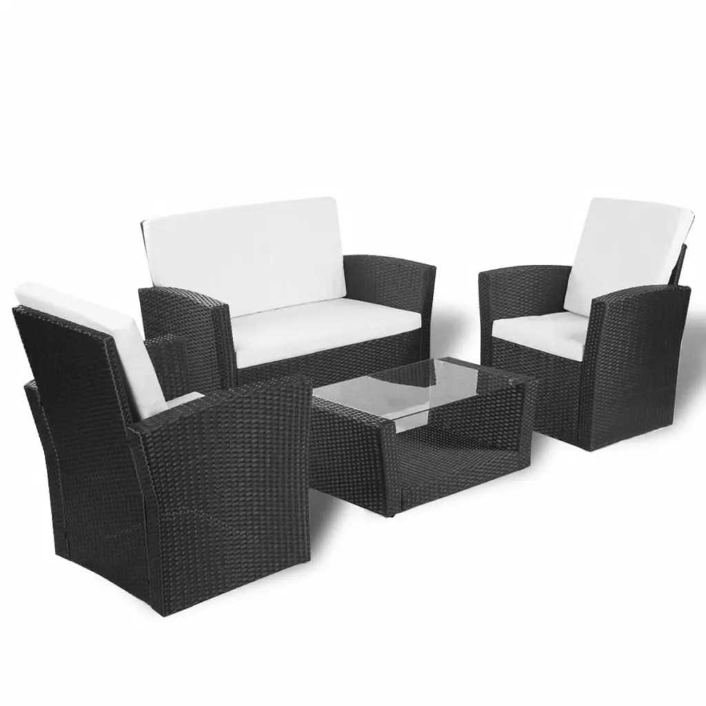 Lounge Set Rattan Vidaxl Black Outdoor Poly Rattan Lounge Set With Cushions