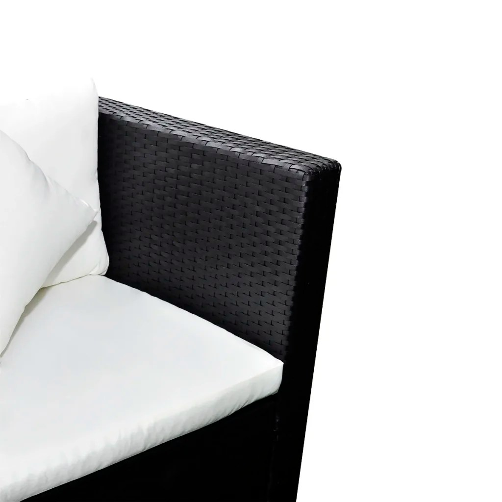 Lounge Set Rattan Black Poly Rattan Lounge Set With Two-seat Sofa | Vidaxl.com