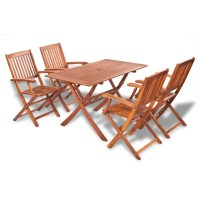 vidaXL Wooden Outdoor Dining Set 4 Chairs + 1 Rectangle ...