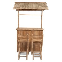 vidaXL.co.uk | vidaXL Bamboo Bar Counter Set 2 Stool + 1 Table