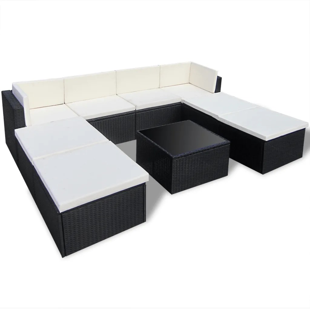 Lounge Set Rattan Vidaxl Black Outdoor Poly Rattan Lounge Set | Vidaxl.com