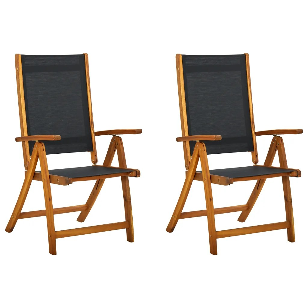 Garten Klappstuhl Holz Vidaxl Folding Chairs 2 Pcs Acacia Wood Black | Www.vidaxl