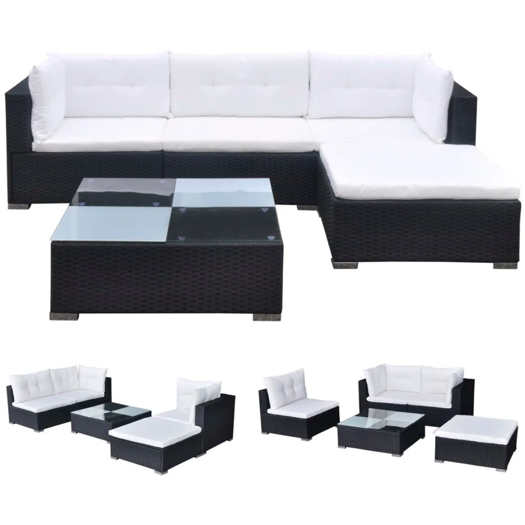 Sofa Set Action Vidaxl 14 Piece Garden Sofa Set Black Poly Rattan Vidaxl