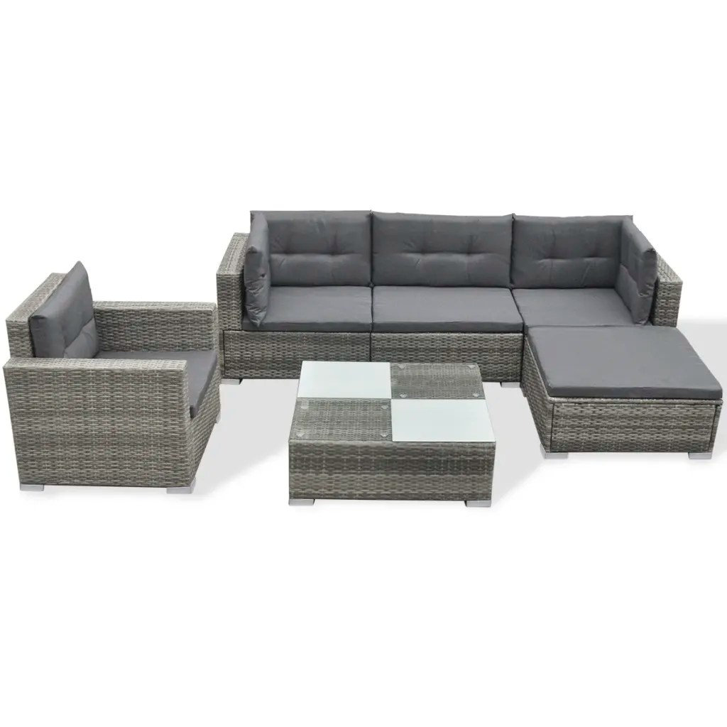 Sofa Set Action Vidaxl 17 Piece Garden Sofa Set Gray Poly Rattan Vidaxl