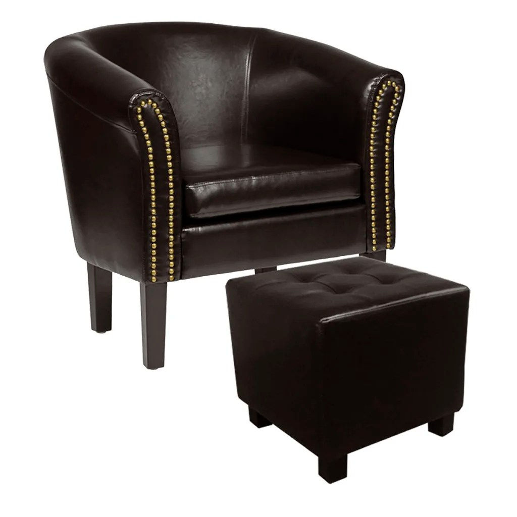 Sessel Chesterfield Der Chesterfield Leder Sessel Mit Hocker Antikbraun Online