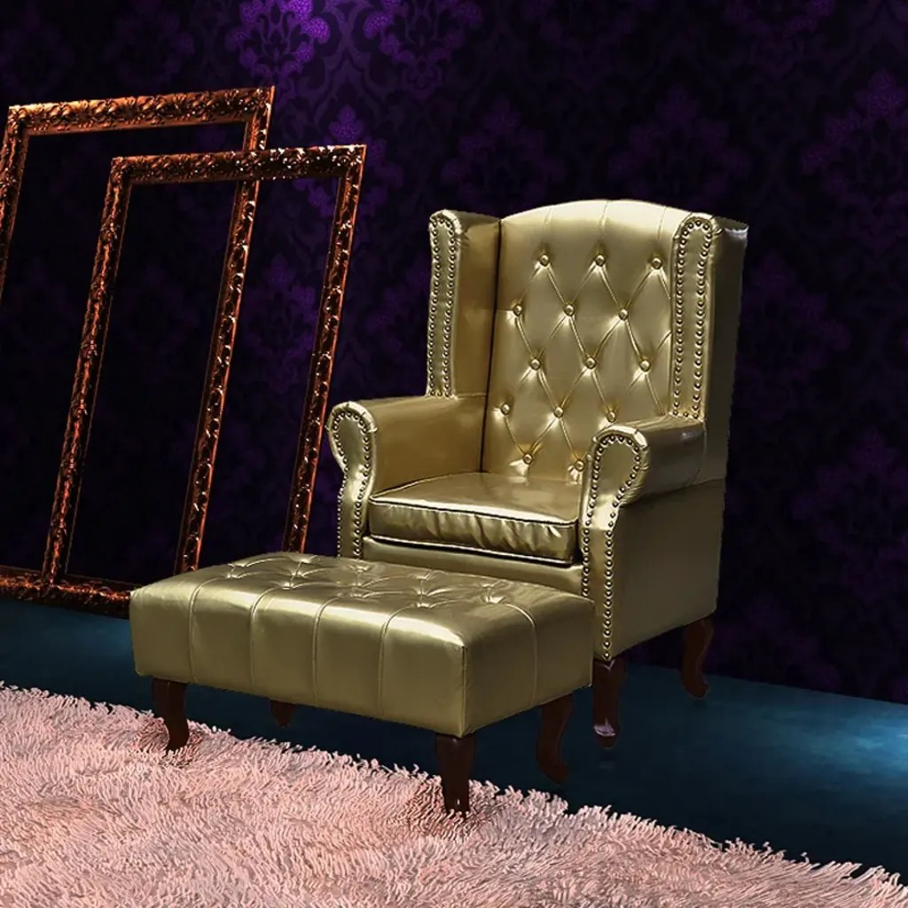 Lounge Sessel Chesterfield Chesterfield Ohrensessel Hocker Kamin Ohrenbacken Sessel