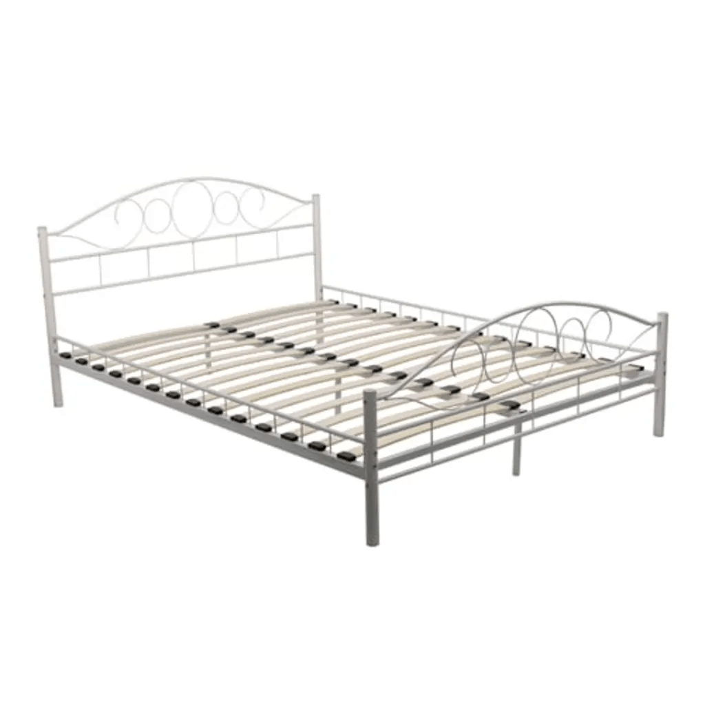 140 Cm Vidaxl Co Uk Metal Bed 140 X 200 Cm White Curved