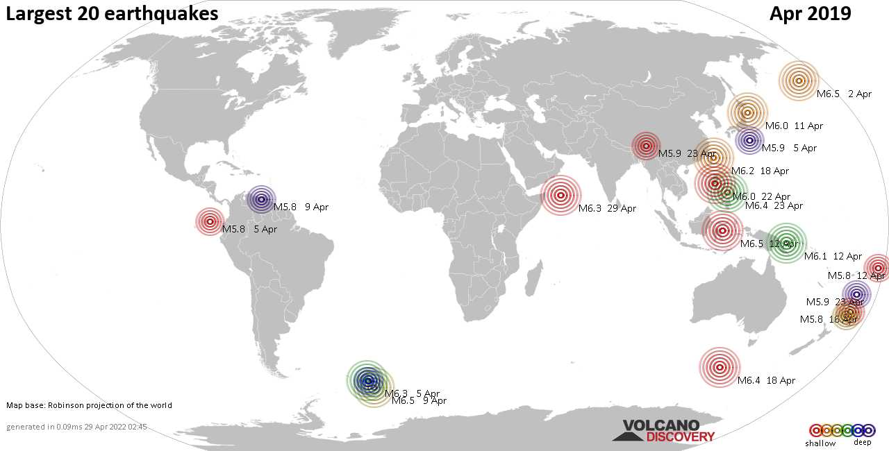 Latest earthquakes world-wide today - complete worldwide list and