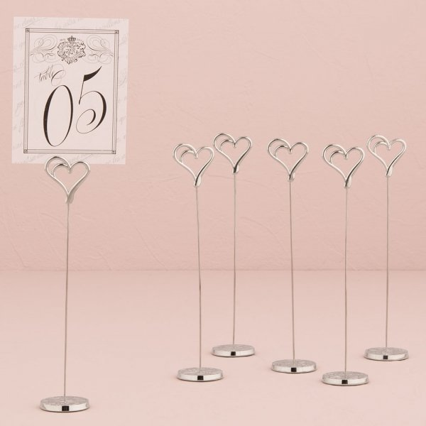 Double Heart Wedding Table Number Holders (Set of 6)