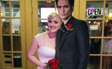 Happy couple: Lauren and 'Robert' pose for wedding photo