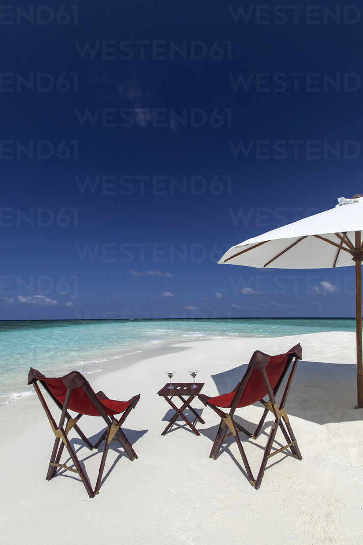 Martini And Chairs On The Beach Maldives Indian Ocean Asia Stockphoto