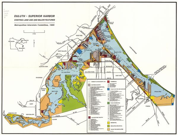 Duluth - Superior Harbor, Existing Land Use and Major Features Map