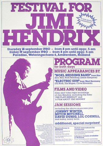 Jimi Hendrix San Jose Pop Festival 1969 FESTIVALS MUSIC - concert program