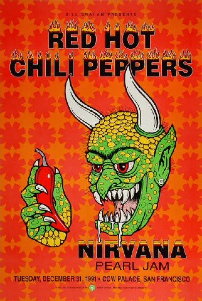 Poster Red Red Hot Chili Peppers Vintage Concert Poster From Cow Palace Dec 31 1991 At Wolfgang S