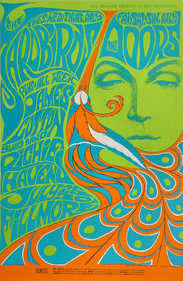 The Doors Vintage Concert Poster from Fillmore Auditorium, Jul 25