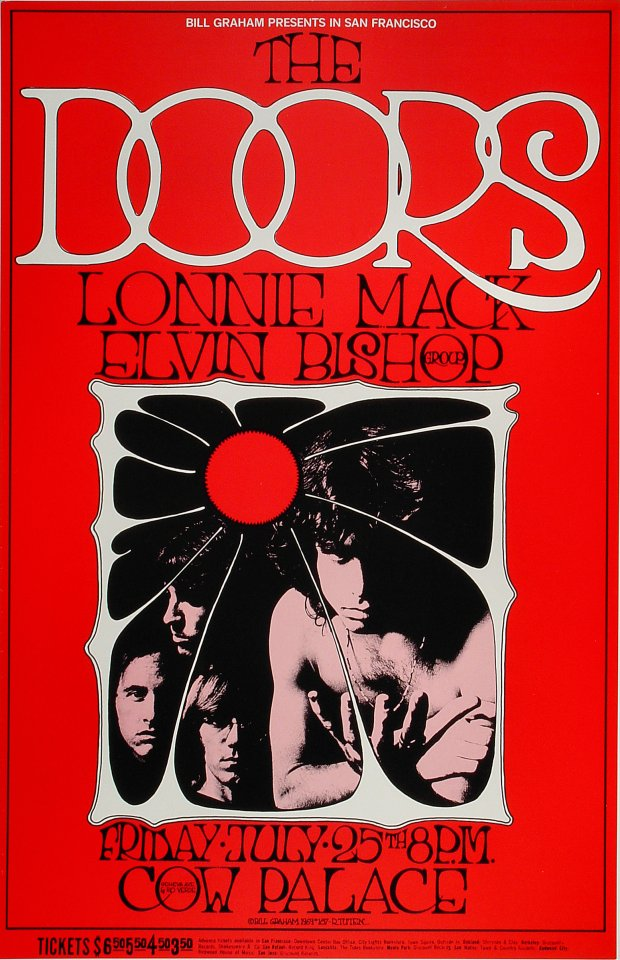 The Doors Vintage Concert Poster from Cow Palace, Jul 25, 1969 at