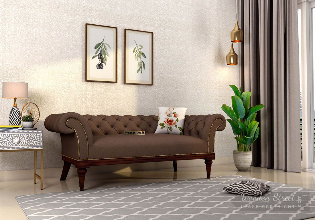 Buy Swanson 2 Seater Sofa Fabric Classic Brown Online In India Wooden Street