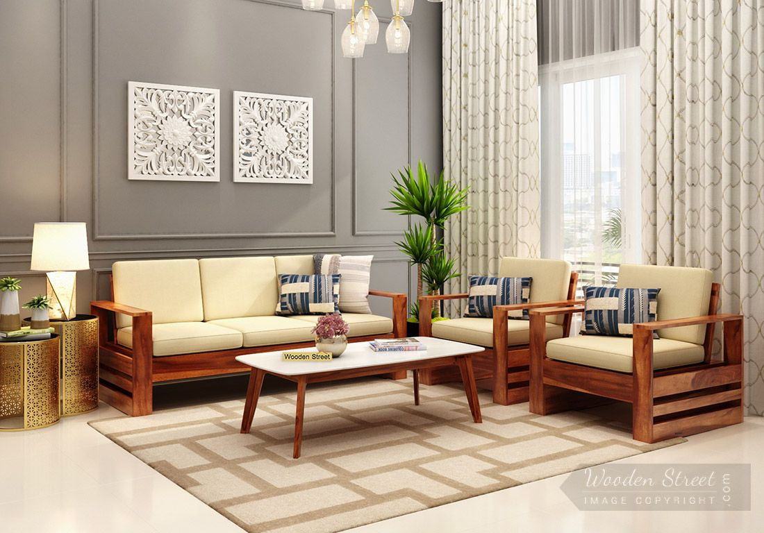Buy Winster Wooden Sofa Set Honey Finish Online In India Wooden Street