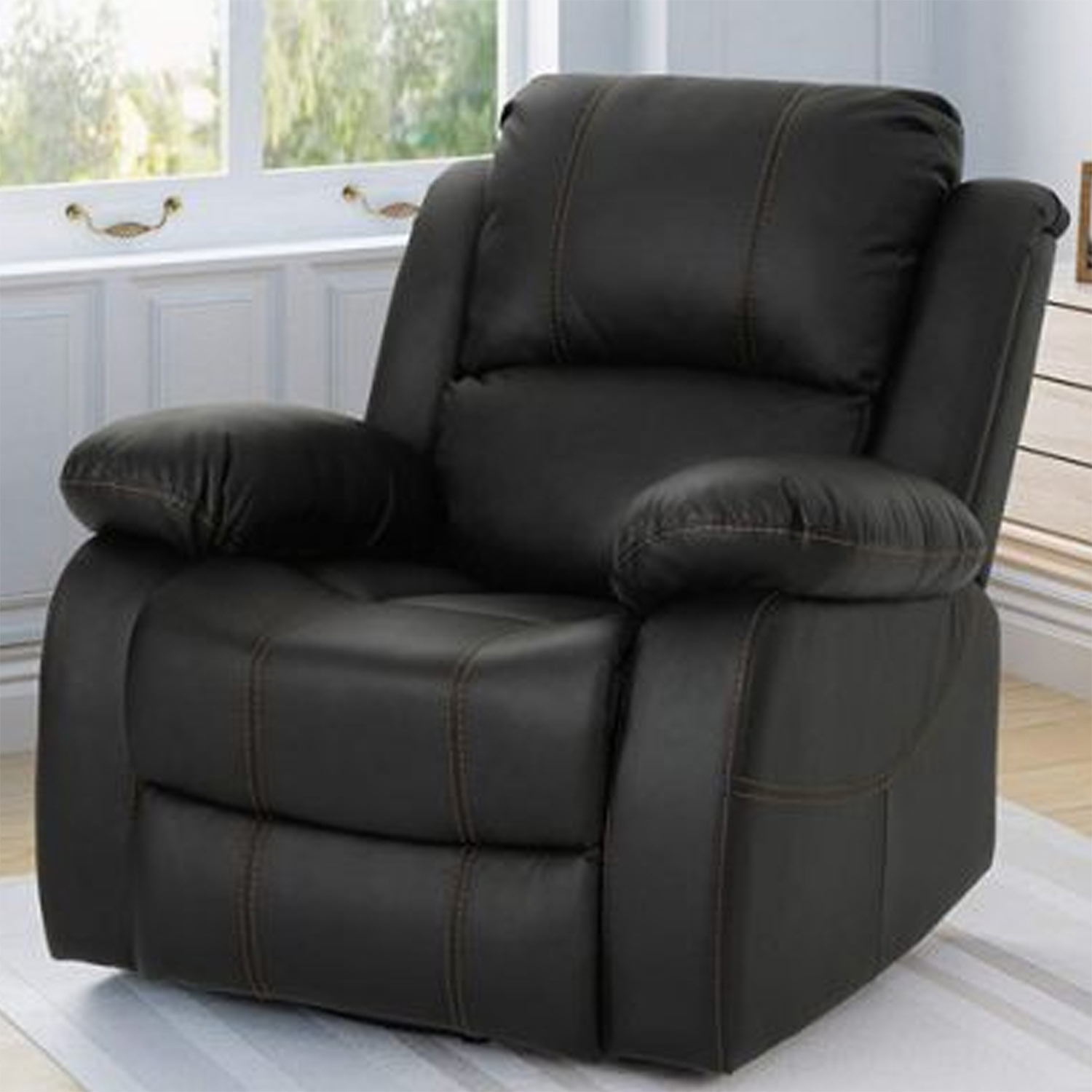 Buy Dinvas Leatherette 1 Seater Recliner Sofa Black Online In India Wooden Street