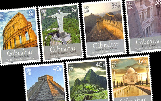 The New 7 Wonders of the World Official Gibraltar 2008 Stamps and