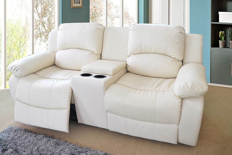 Reclining Faux Leather Sofa With Cup Holders Storage 3