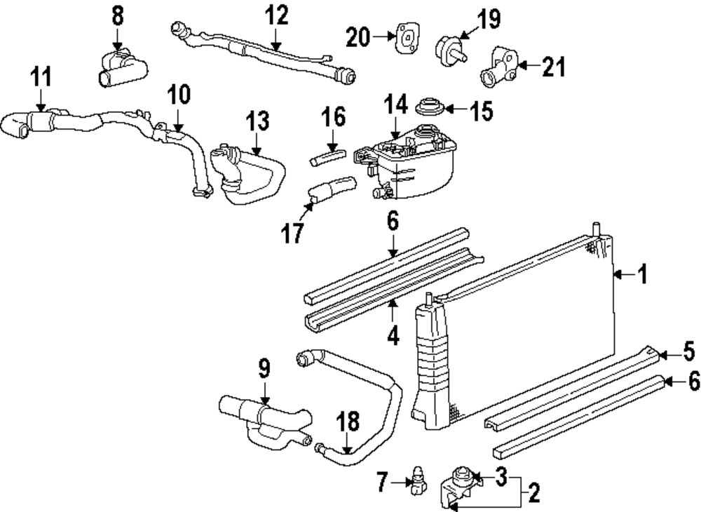 2004 pontiac grand prix radiator cooling fan components parts diagram