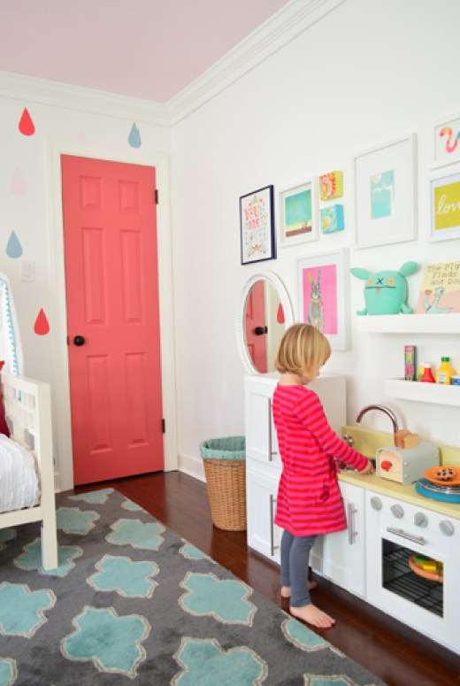 Sweet pink door for a girl's room via Young House Love