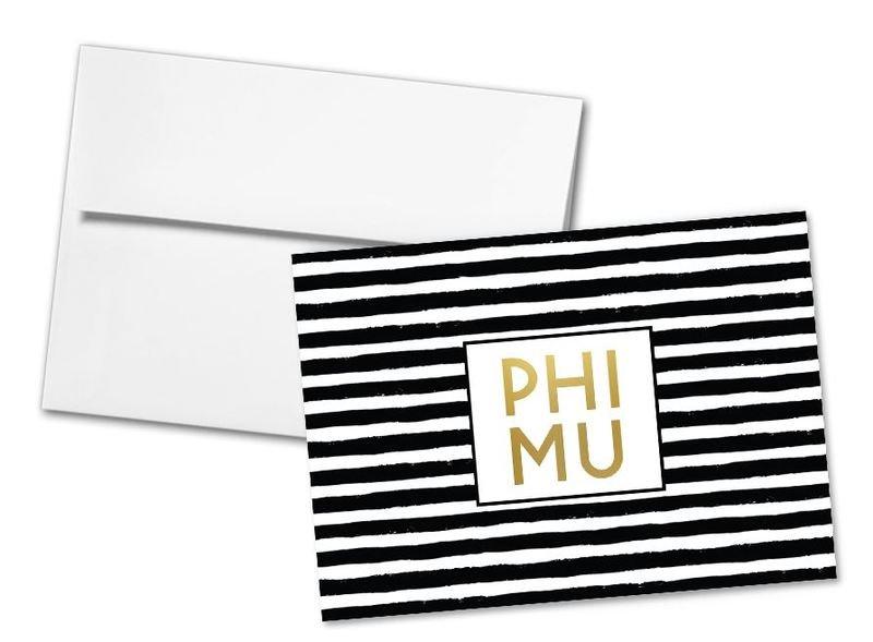 Phi Mu Striped Notecards(6) SALE $1495 - Greek Gear®