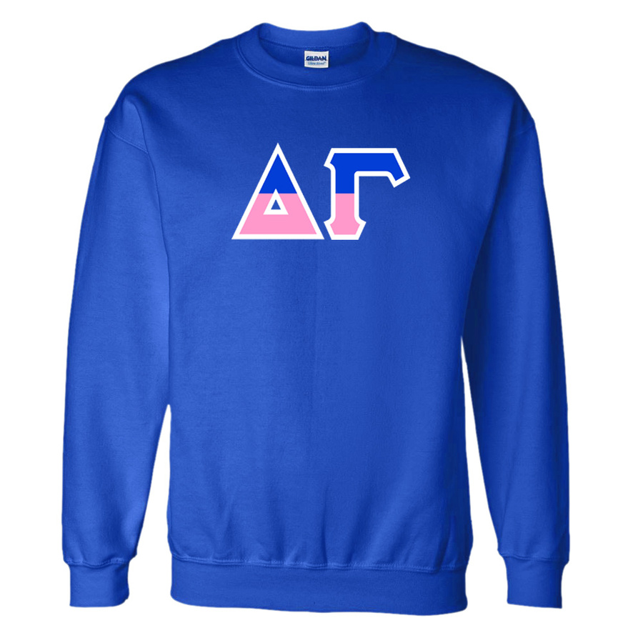 Gamma Split Delta Gamma Two Tone Greek Lettered Crewneck Sweatshirt Sale